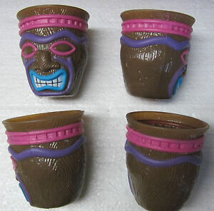 *4 TIKI CUPS-3 inch tall/2 1/2 wide- Kids  Luau Birthday Party Favors