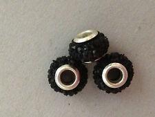 1 perla foro largo con strass nero 14x9 mm bigiotteria