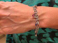 18k White Gold Double Link Bracelet Diamond Multi Color Sapphire Pink Briolette