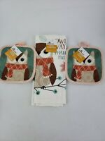Celebrate Harvest Kitchen 1Towel And 2Potholders Owl Ways Thankful New