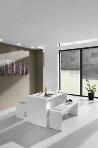 Besprechungstisch / Esstisch mit Sitzbänken  weiß (wahlweise mit Sitzauflagen)