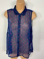 WOMENS ABERCROMBIE & FITCH NAVY/RED SPOTTED SLEEVELESS SHIRT BLOUSE TOP MEDIUM M