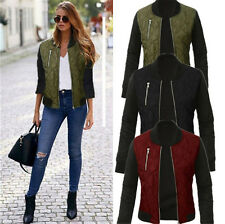 UK Womens Warm Zip UP Long Sleeve Outwear Ladies Tops Casual Biker Jacket Coat