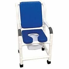 "Blue deluxe Shower chair 18"" with 3"" twin casters - cushioned padded"