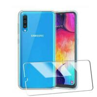 For Samsung Galaxy A90 5G A908F Clear Gel Silicone Phone Case + Tempered Glass