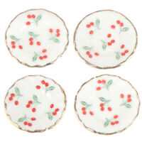 4pcs 1:12 Dollhouse Miniatures Cherry Dishes Plate Tableware Kitchen Access XF