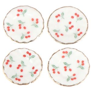 4pcs 1:12 Dollhouse Miniatures Cherry Dishes Plate Tableware Kitchen Access  mi