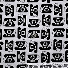 BonEful Fabric FQ Cotton Quilt B&W White Black Telephone Old School US Phone Dot