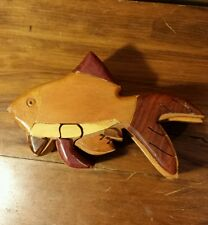 True Hand Carved Wood Intarsia Fish Puzzle Jewelry Trinket Rustic Northwoods Box