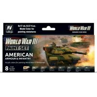 Vallejo World War III American Armour & Infantry 17ml Acrylic Paint Set 8 Colors