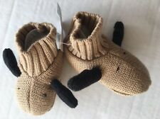 NWT Gymboree Holiday Traditions 0-3 Months Moose Sweater Knit Booties Shoes