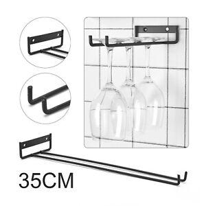 Iron Wine Glass Holder Hanging Rack Cabinet and Bar Storage Rail Low Profile UK