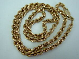 LOVELY 9CT YELLOW GOLD ROPE CHAIN NECKLET - 18 INCHES