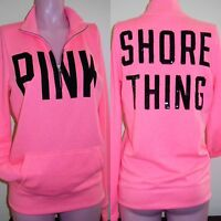 Victoria's Secret PINK Boyfriend Half-Zip Sweatshirt Cozy Soft Sweater Sequin BN