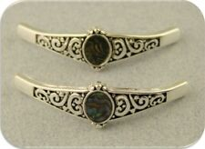 2 Hole Beads Abalone Shell Mother of Pearl Bangle Bars Silver Metal Slider QTY 2