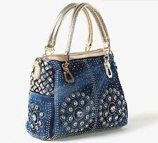 E1 Womens fashion denim rhinestone cross body bag shoulder handbag messenger bag