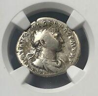 Roman Emperor Trajan AD 98-117 Silver Denarius NGC Fine