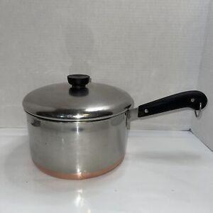 1801 Revere Ware 4 Qt Copper Clad Sauce Pan Pot with Lid Clinton IL Double Ring