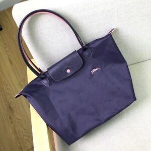 Size L Longchamp Le Pliage STYLE Nylon Tote Bag Horse Embroidery Deep Purple