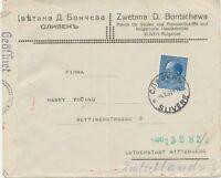 BULGARIEN 1941 Zar Boris III 7 L als EF a. Pra.-Zensur-Bf (bulgarische u. Nazi)