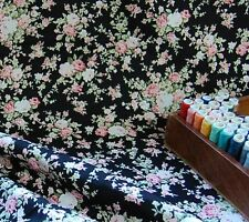 Extra Wide 100% Cotton Fabric Black Country Floral Roses by the METRE #043