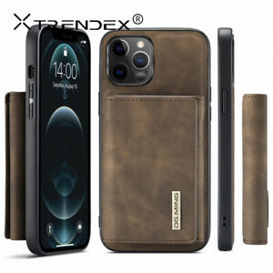 For iPhone 12 11 Pro Max Genuine TRENDEX Magnetic Leather Wallet Card Case Cover