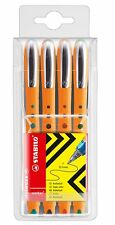 STABILO worker+ fine Wallet of 4 Rollerball Pens, Green Blue Red Black FINE