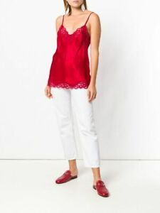 Gold Hawk Silk Floral Lace Fiery Red Cami Camisole Top Blouse Size XS BNWT