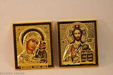 HOLLY MARY JESUS CHRIST THE SAVIOUR METAL GOLD FARME 5X7CM ОКЛАД ПАРА КАЗАНСКАЯ