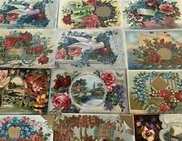 ~Lot of 12 ~Fancy Doves~Birds~Roses~Flowers~Vintage Greeting Postcards--s373