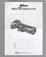 Nikon Nikkor ED 400mm F4.6 IF Non-Ai Instruction Manual (1976) English