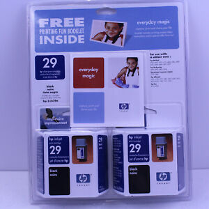 2 PACK HP 29 Ink Cartridge Black 51629AC EXP 2003 Free Photo Deluxe Software