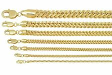 """Brand New 10k Yellow Gold Franco Chain Necklace 1.5mm-6mm Sz 16"""" - 40"""""""