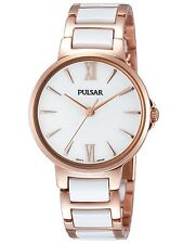 Pulsar Ladies Rose Gold White Ceramic Classic Dress Watch PH8078 UK Seller