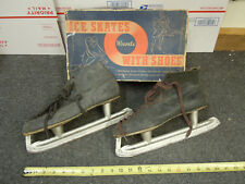 Vintage Montgomery Wards Ice Skates with Shoes Men's Size 9 Model Cadmium w/ Box