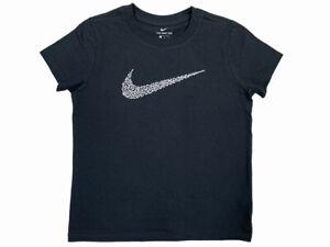 Nike Girls Swoosh Logo Squiggles Cotton Graphic Shirt Black BQ6033 New