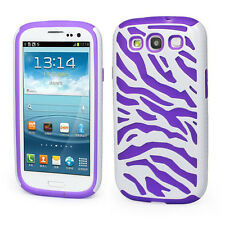 Samsung Galaxy S III 3 i9300 Hybrid Zebra Fusion Case Phone Cover White Purple