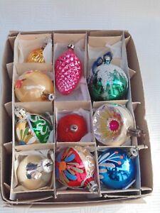 lot de 10 boules de Noël anciennes en verre très fin décoration sapin de Noël