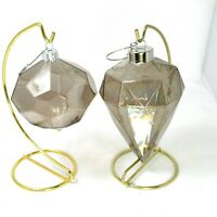 Set 2 Transparent Iridescent Smoked Glass Geometric Modern Christmas Ornaments