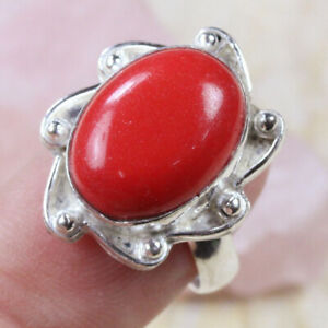 Red Coral 925 Silver Plated Handmade Gemstone Ring of 7.5 Ethnic Gift