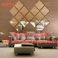 40PC 15CM DIY Mirror Tile Wall Square Film Self Adhesive Sticker Foil Bathroom