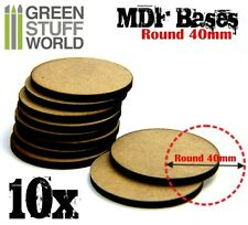 10x MDF Basen 40mm RUNDE - Holz Modellbau Rollenspiele Tabletop Scrapbooking AOS