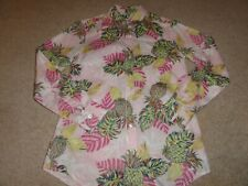 LADIES TOMMY BAHAMA PINK TROPICAL LINEN LONG SLEEVE BLOUSE TOP SIZE XS