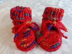 Babyschuhe Strickschuhe rot meliert  handgestrickt Gr. 56