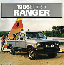 1986 FORD RANGER PickUp Truck Brochure w/Color Chart: XL,STX, Pick Up, SuperCab,