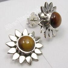 "925 Solid Silver Original BROWN TIGER EYE FLOWER Studs Posts Earrings 0.6"" NEW"