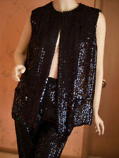 Vtg Arbe Black Sequin Cocktail Sleeveless Pants Suit Size Small S