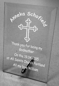 Plain / Engraved Personalised Glass Plaque Godparent Gifts Christening Thank you