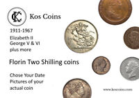 1911 - 1967 GEORGE V & VI QE2 Florin +more SILVER & Cupro-Nickel Chose your coin