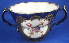 Rare 18thC Worcester Porcelain 1st Period Floral & Blue Ground Chocolate Cup